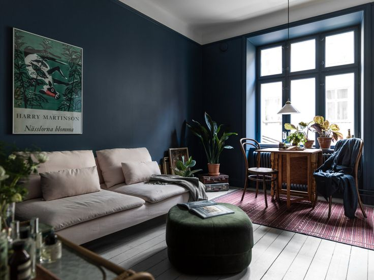 blue livingroom in Scandinavian style, decor inspiration and design