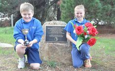 Apsley Primary School students at the grave of pioneer resident Jimmy Tarpot with the Jimmy Tarpot Cup, which was won in 2016 by local footballer Dale Smith in a time of 15.01 seconds, 1.01 seconds outside the time set by Jimmy Tarpot at the MCG 150 years earlier. Jimmy was part of the Aboriginal Cricket Team that played against the Melbourne Cricket Club at the in 1866. The Aboriginal team conducted a sports day at the MCG with a highlight - Jimmy running 100 yards backwards in 14 seconds.