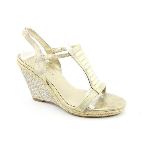 Anne Klein AK Virtruos Womens Size 7.5 Gold Synthetic Wedge Sandals Shoes $33