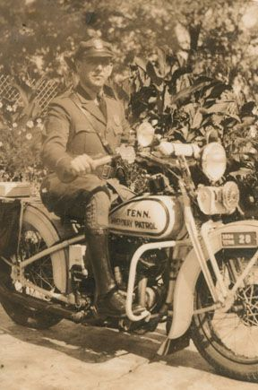 Tennessee Highway Patrol Sergeant John Davis on patrol in 1934. Davis was one of the first members of the Patrol later became assistant chief of the Knoxville division. Emergency equipment on motorcycles included a red light on the left side of the handle bars and a white light on the right, and a friction siren.