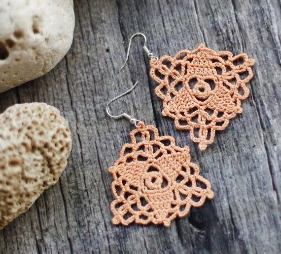 Lace earrings chandelier earrings crochet by ClaudetteTreasures, $20.00