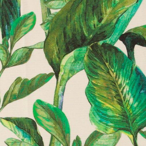 Gewebe, Offwhite mit grünen Blättern
