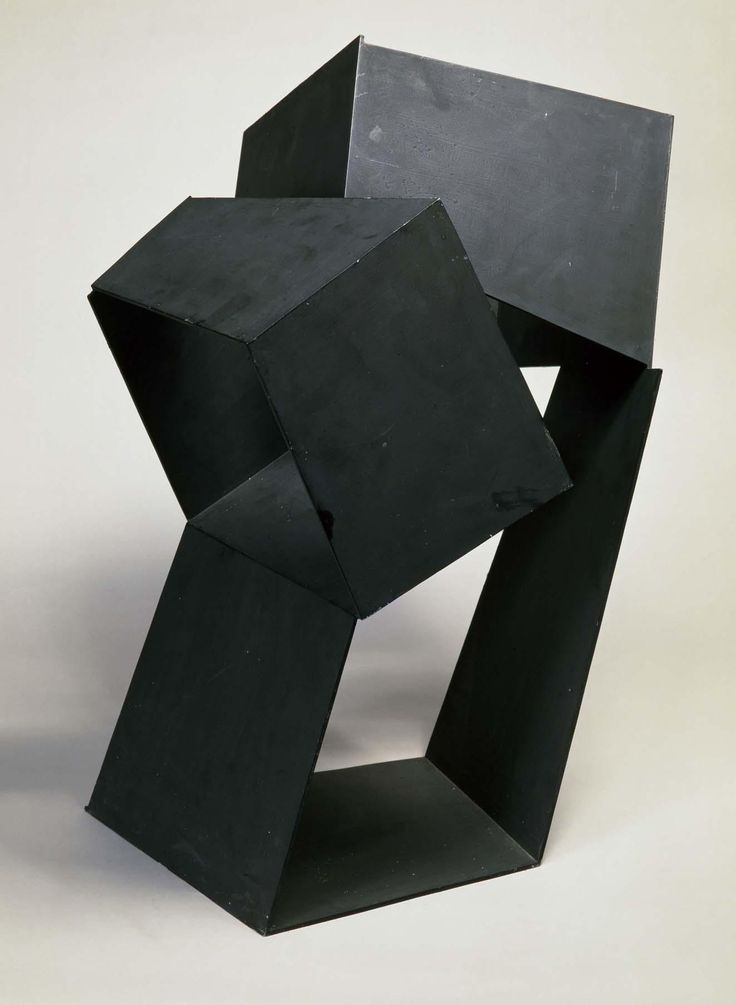 Oteiza, Jorge: Circulación en oblicuo con tres vacíos Malévich (Slanting Circulation with Three Malevich Voids):  1958    Material:  Iron sheet    Technique:   Welding     Dimensions:  66 x 40 x 63 cm