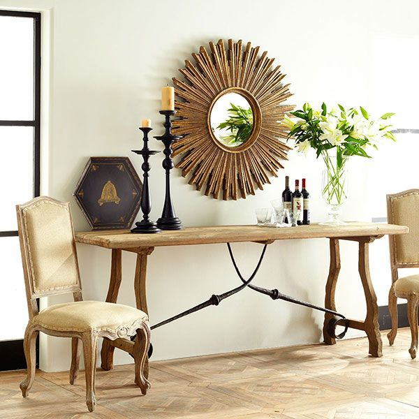 Rustic Trestle Console Table. like the mirror
