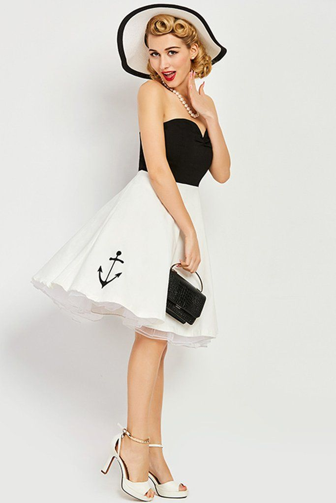 All aboard on the rockabilly trend in our Atomic White Anchor Strapless Midi Dress. https://atomicjaneclothing.com/products/atomic-white-anchor-strapless-midi-dress