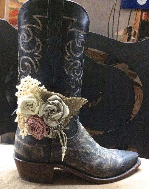 Cowboy Boot Accessories with Hand Made Fabric Rose by jhammerberg ☺  ☺