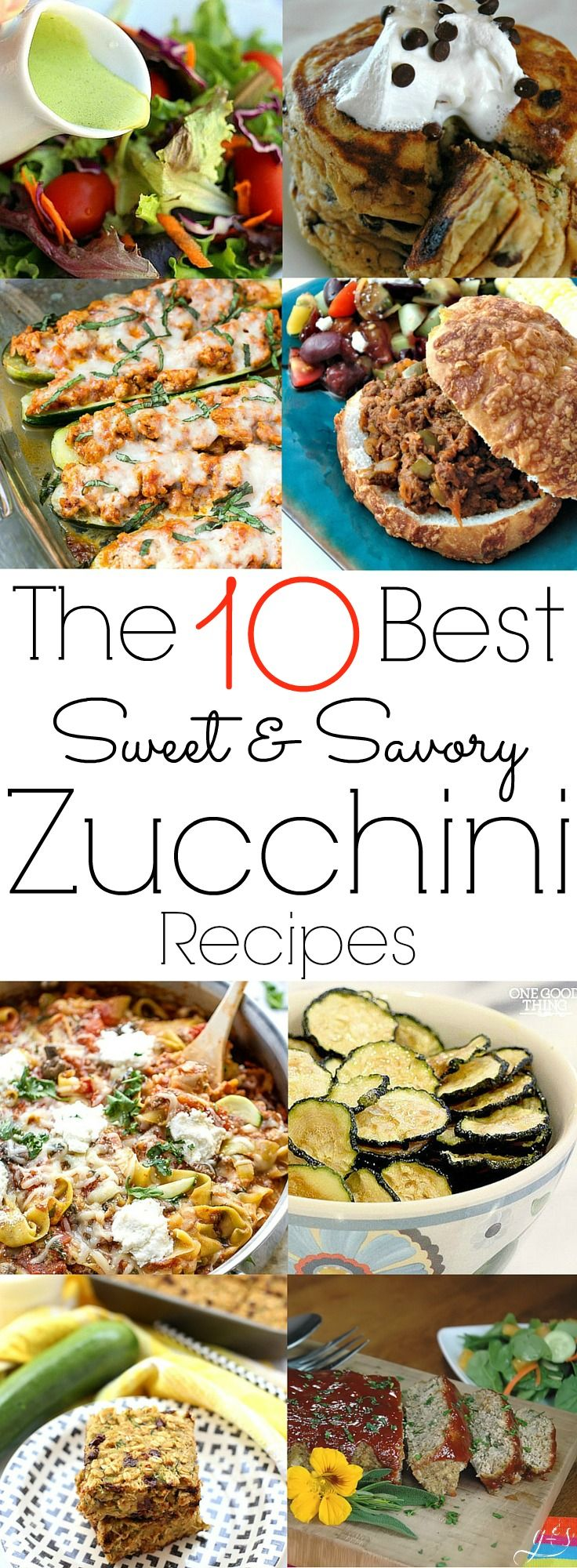 Here are the 10 BEST Sweet & Savory Zucchini Recipes that are healthy, homemade, and easy to prepare! Your family will love these gluten-free and clean eating meals for breakfast, lunch, and dinner. You will find the likes of cookies, pancakes, and bars for the sweet options and stuffed zucchini chicken boats, sloppy joes, and a vegan chip, plus more for the savory! Most are low carb but all are packed with veggies and other whole foods!