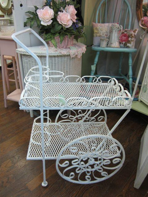 Vintage Wrought Iron Garden Tea Cart Planter...Shabby Distressed White from mrswiggstreasuredheirlooms on Ruby Lane