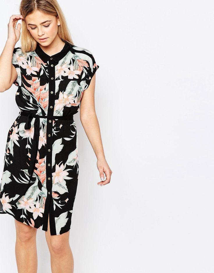 Oasis Tropical Print Shirt Dress Viscose