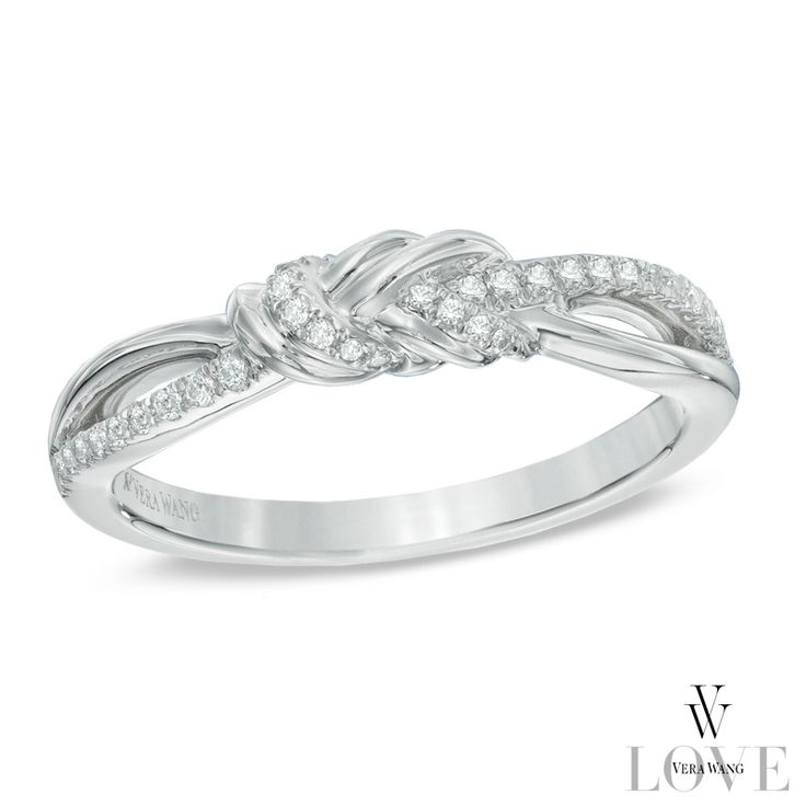Vera Wang LOVE Collection 1 6 CT T W Diamond Knot Ring in 14K White Gold
