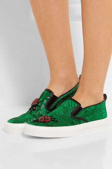 Gucci - Crystal-embellished Brocade Slip-on Sneakers - Green - IT37.5
