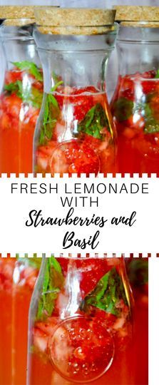 Fresh Lemonade with Strawberries and Basil