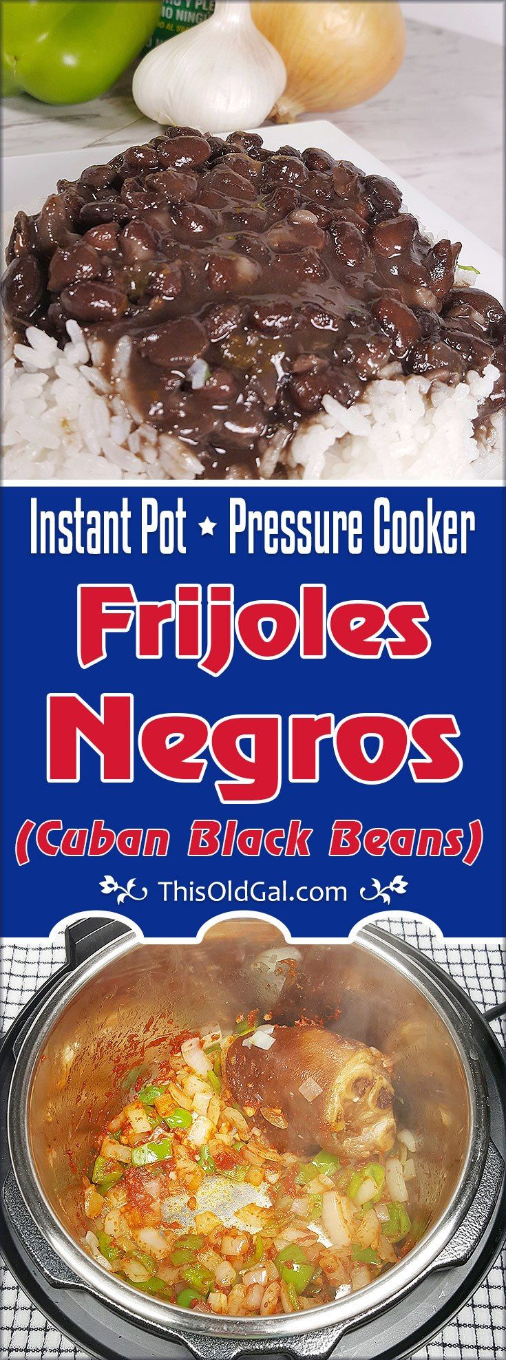 This authentic Pressure Cooker Cuban Black Beans{Frijoles Negros} recipe, is made with smoked ham hock, sofrito and traditional seasonings. via @thisoldgalcooks