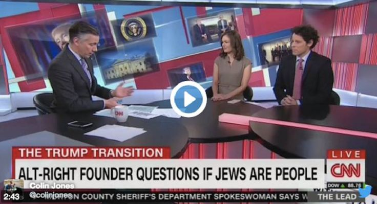 """While discussing the white supremacist """"alt-right"""" movement's ideology, CNN casually questioned whether or not Jews were people on the bottom of the screen."""