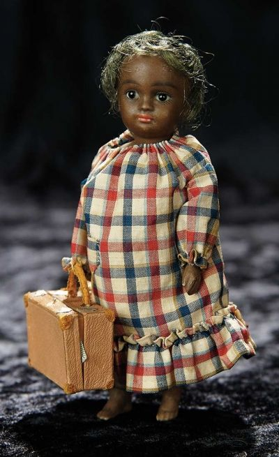 Soirée: A Marquis Cataloged Auction of Antique Dolls and Automata - May 14, 2016: Lot 189. German All-Bisque Brown Complexioned Miniature by Kestner