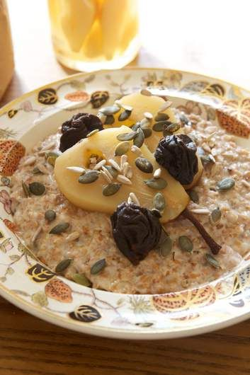 Spelt, rye and cinnamon porridge with a pear and prune compote. Perfect for a lazy start to a chilly day.