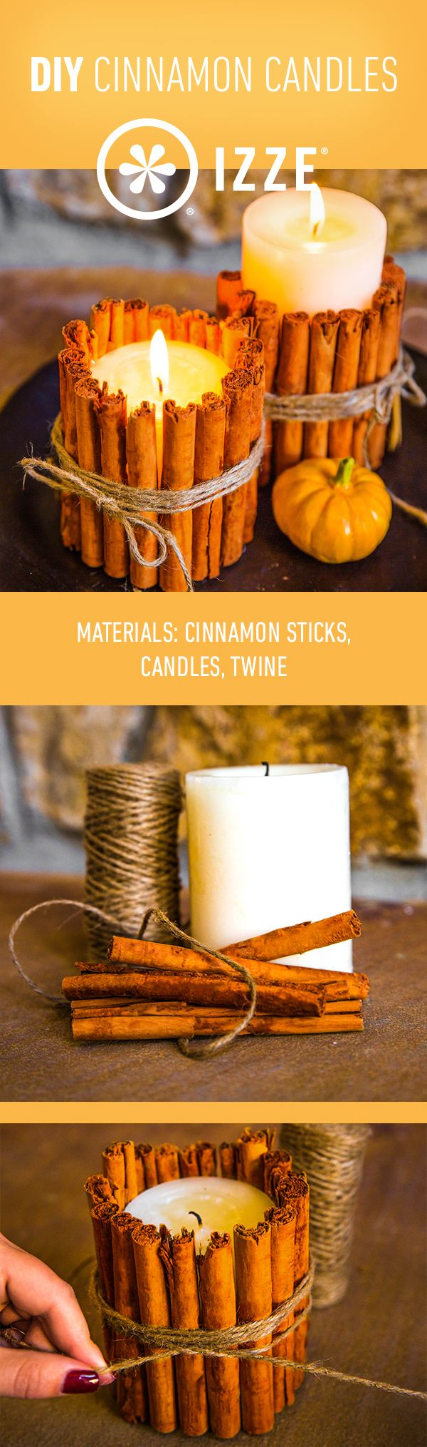 Make your home even brighter with our DIY cinammon candles for fall.