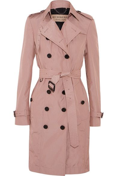 Burberry's lightweight antique-rose shell trench coat features traditional heritage detailing including epaulettes, wind and storm flaps and a buttoned throat latch. Pop the collar to showcase the British label's iconic check and knot the belt to cinch your silhouette.