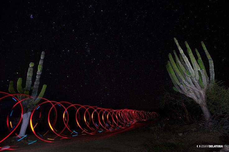Red Loop in the desert  #josafatdelatoba #cabophotographer #loscabos #bajacaliforniasur #mexico #lightpainting #longexposure