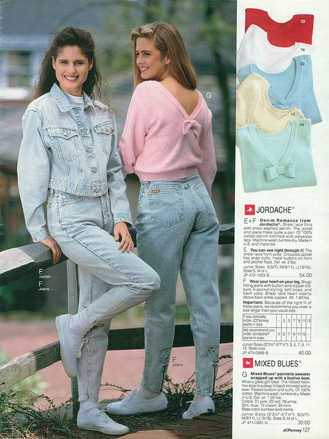 Head-to-toe bleached denim...I think I had these exact jeans with the zipper and the lace heart at the ankle.