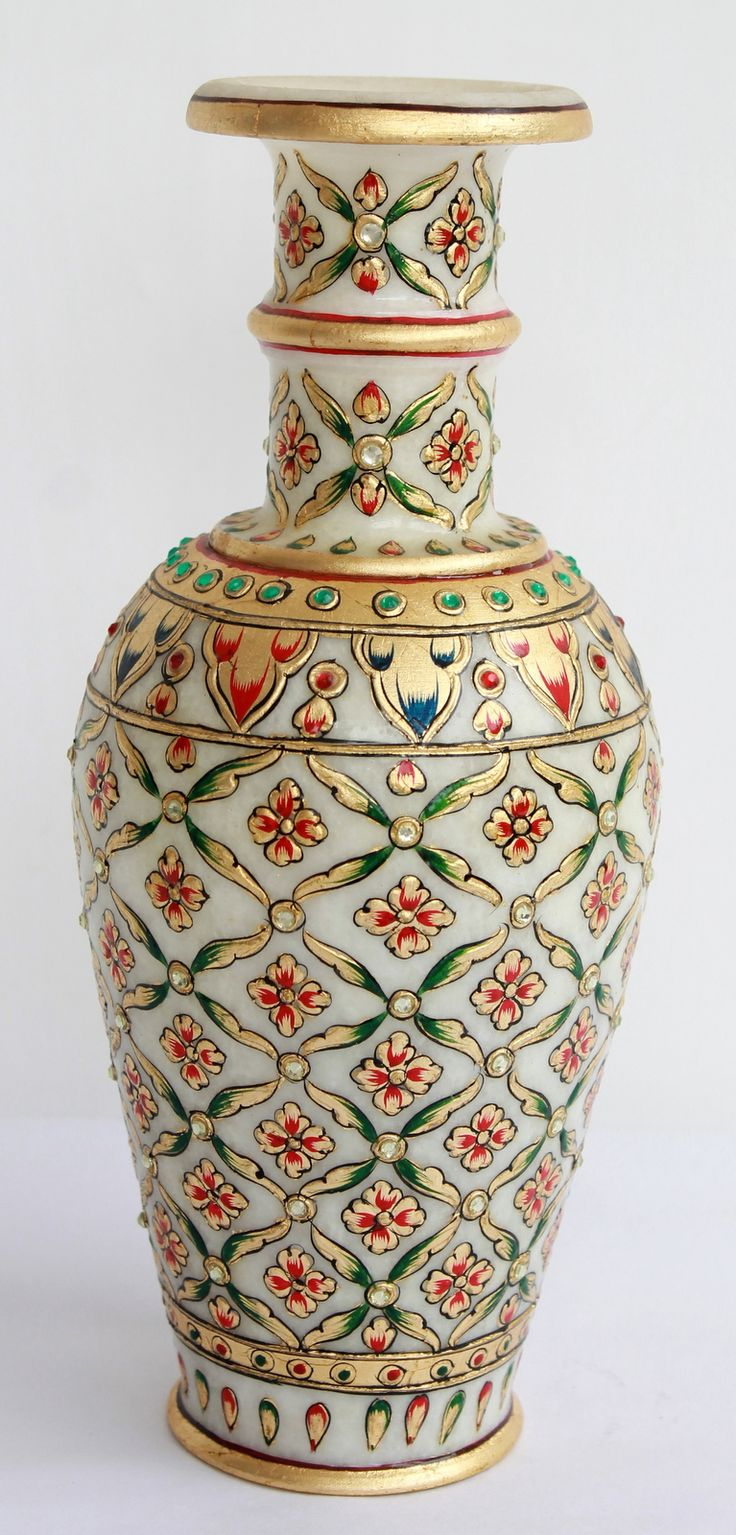 Home Decor Handicrafts Marble Vases Gold Painted