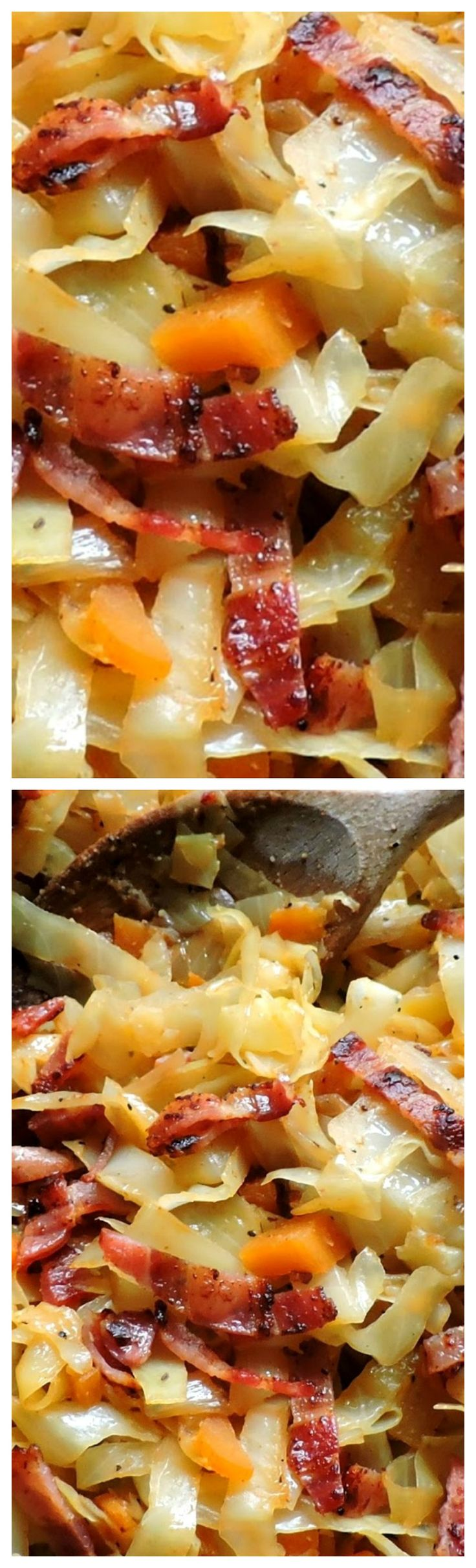 Fried Cabbage with Bacon & Onions ~ Quick and easy and delicious.