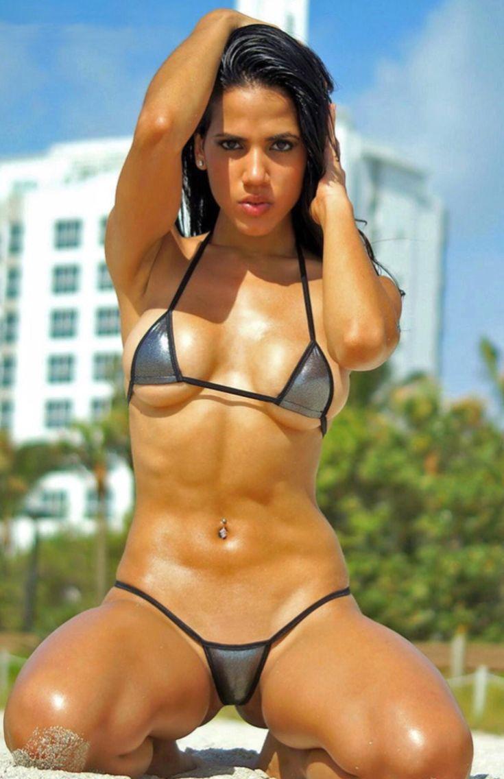 Women wearing tiny bikinis