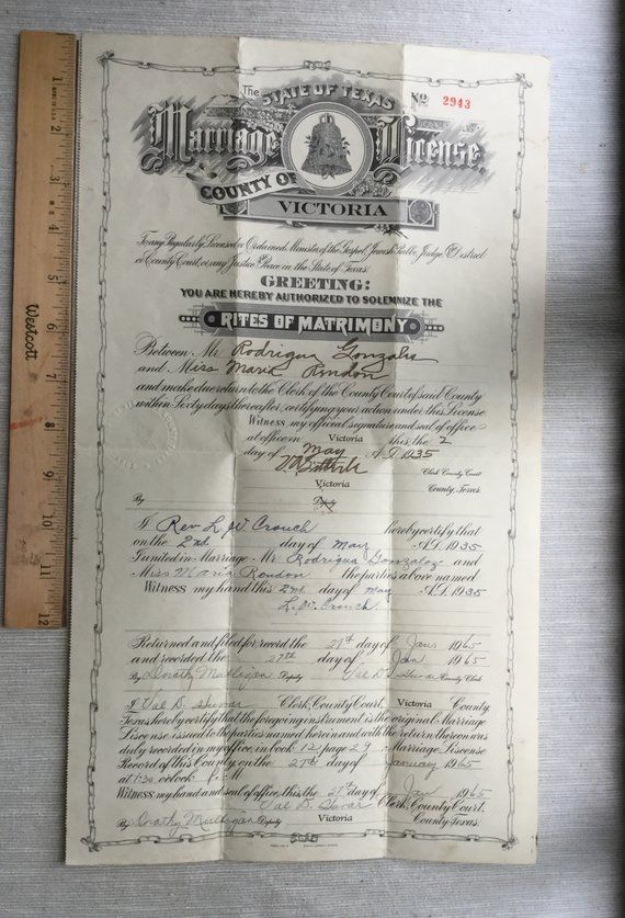 1935 County Of Victoria Marriage License Texas Certificate Etsy Marriage License Marriage Marriage Certificate