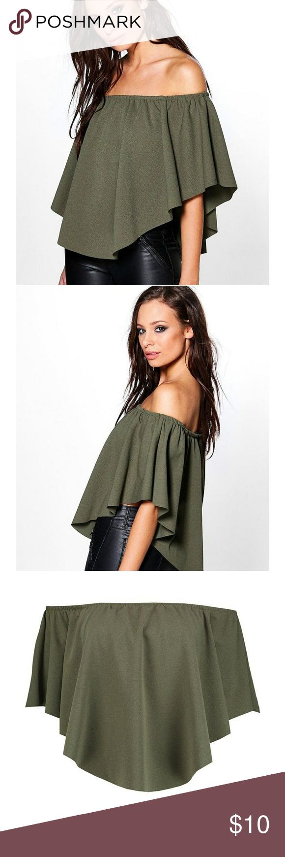 💞SALE💞Double-Layer Bardot Top Army green bardot top Boohoo Tops Blouses