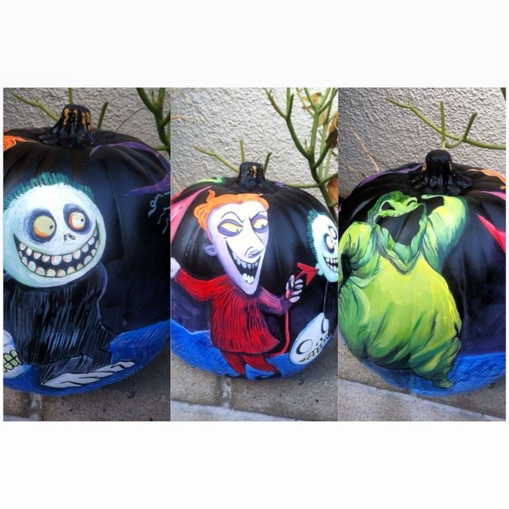 Hello my friends, here are some examples of my hand painted nightmare before Christmas Halloween and Christmas pumpkins. Yes, I have them up from October through December. These foam decorative pumpkins come in small, medium or large (all sizes are show here). All these were hand-painted by me! :) enjoy. If you would like information on these pumpkins or have questions about my artwork please email mkimsugarart@gmail.com