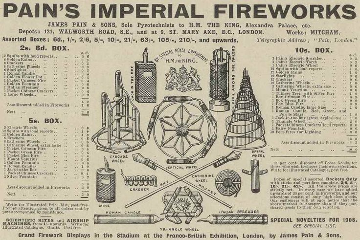 1908 advert for Pains Fireworks, UK.