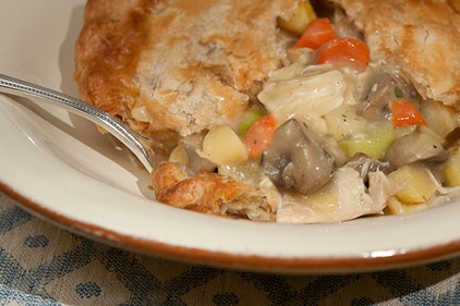 Amazing Chicken Pot Pie Recipe.  I actually used my own crust recipe but used this for the filling!