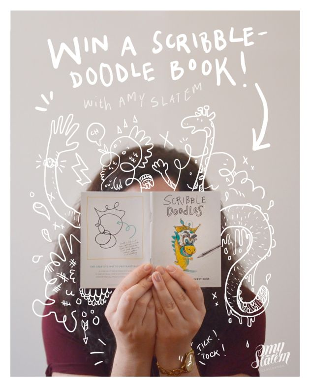 Doodled Amy Slatem (c) 2016  Time to WIN with Amy Slatem Illustration! Complete the scribble doodle challenge, upload to FB or Instagram #ScribbleDoodlesCompetition by 31 March and stand a chance to win a Scribble Doodles book!  Details in the link.