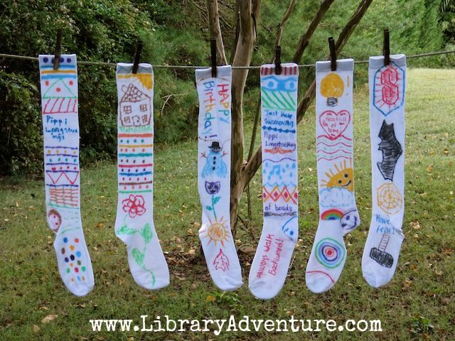 Make longstockings as an activity to go along with reading the Adventures of Pippi Longstocking! Long socks and fabric markers.