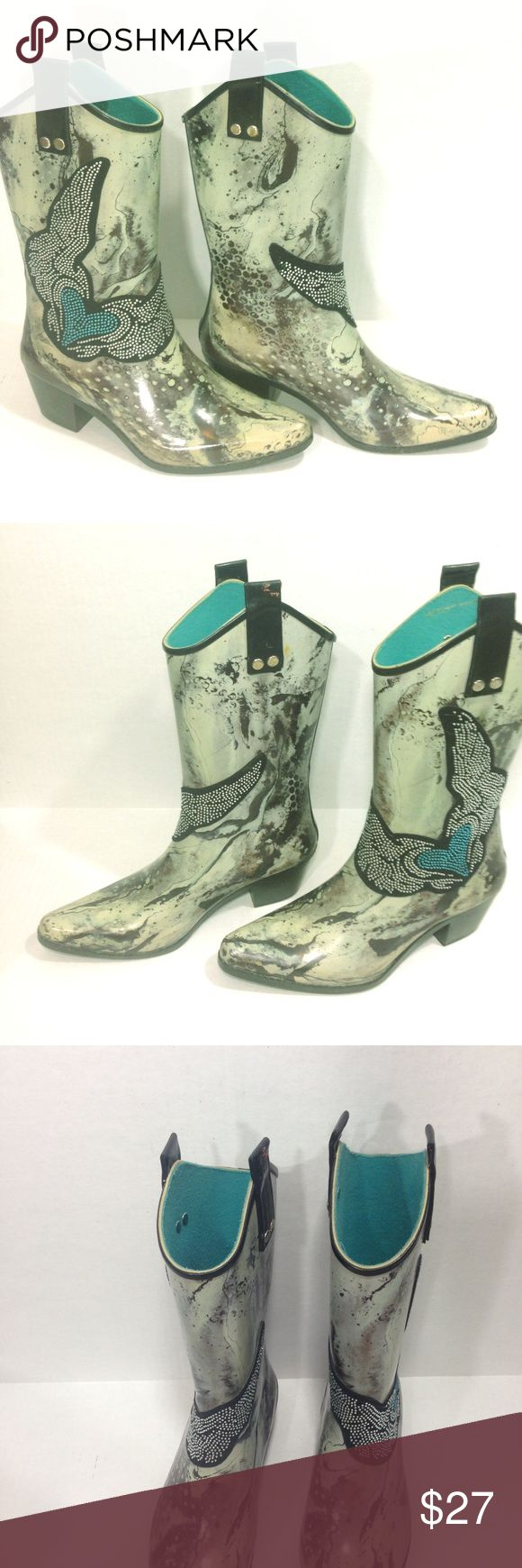 "Beehive Rain Bops Jeweled Winged Heart Rain Boots A pair of blinged out cowboy rain boots up for sale - so cute!  These are Rain Bop rain boots, size 7 embellished with a jeweled, winged heart design on a marbled background, slip on pull tabs on top and a 2"" heel. Beehive Rain Bops Shoes Winter & Rain Boots"