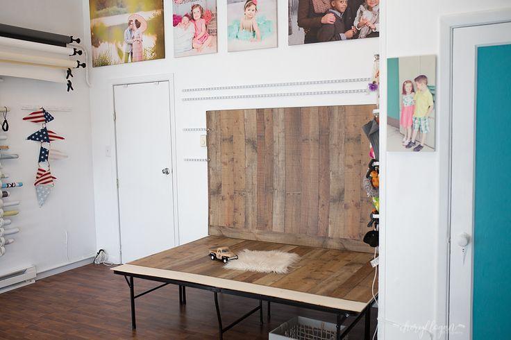 Cheryl Logan Photography Portrait Studio- DIY Platform. Make your own fold away platform for less than $100. Use a metal platform bed frame with a no slip rug liner and plywood on time. Boom instant platform.