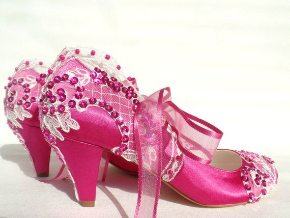 185a9c120ac4 Embellished Lace Fuchsia Bridal Shoes with Low Heels