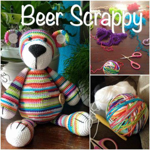 Crochet teddy bear with scraps of yarn, photo by Gabriëlle Zillig-de Kreij | Happy in Red