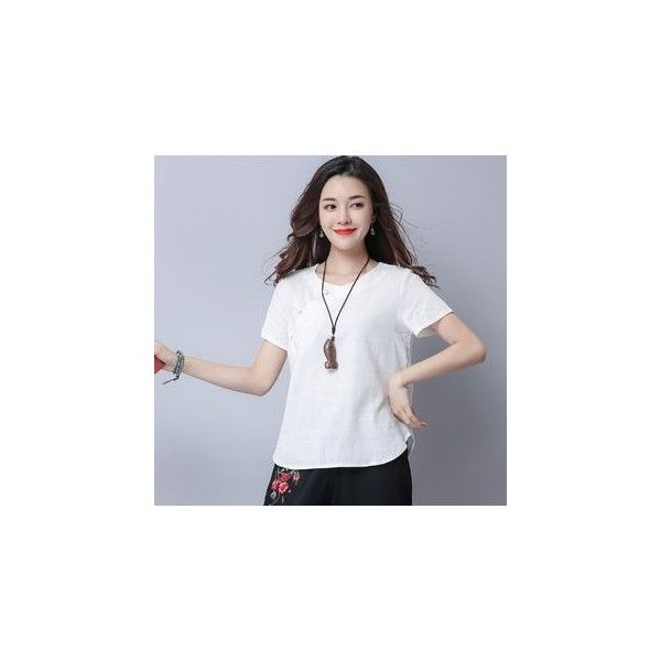 Plain Short Sleeve T-Shirt (€11) ❤ liked on Polyvore featuring tops, t-shirts, shirts, women, white linen shirt, cuffed sleeve t shirt, linen shirts, t shirt and white sleeve shirt