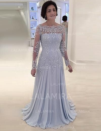 a581ffd53f  US  199.99  A-Line Princess Square Neckline Sweep Train Chiffon Lace Mother  of the Bride Dresses (008146300)