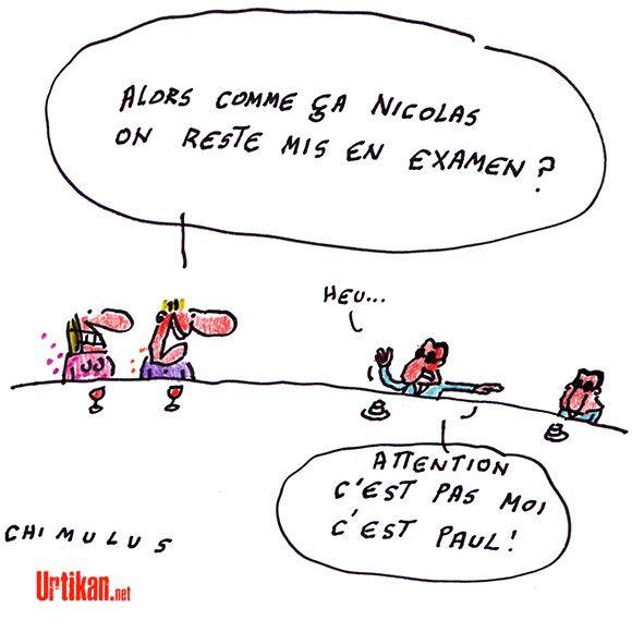 Trafic d'influence : les écoutes validées, Nicolas Sarkozy reste mis en examen - Dessin du jour - Urtikan.net