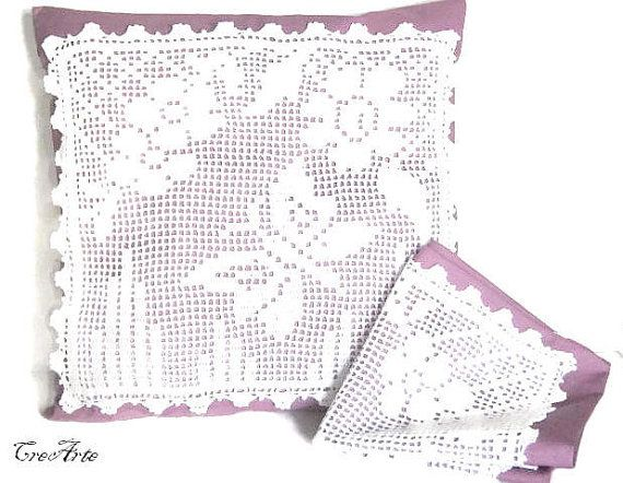 Crochet Pillow White and Purple Pillow by CreArtebyPatty on Etsy