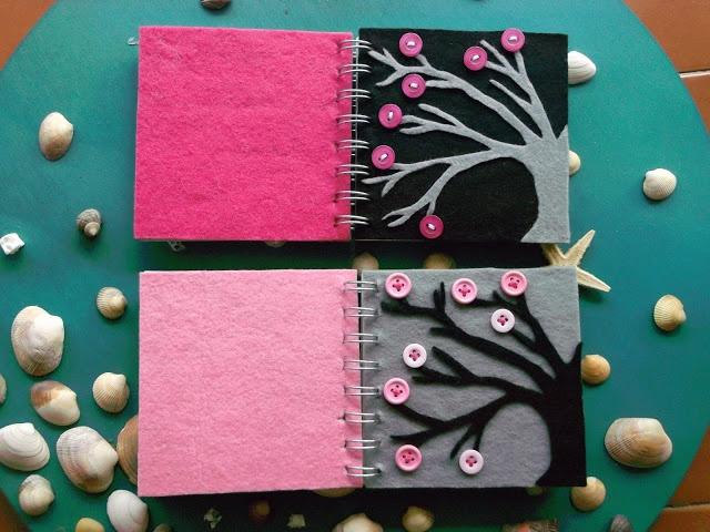 Cuadernos decorados con fieltro en forma de árboles