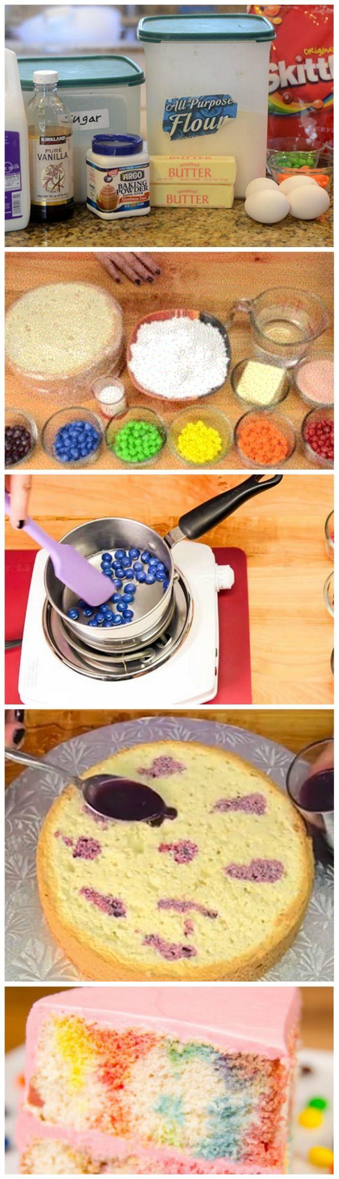 Skittles Poke Cake