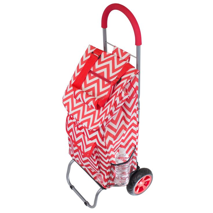 As Seen On TV Red Chevron Trendy Trolley Dolly Rolling Shopper Tote