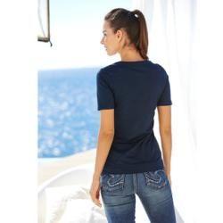Gina Laura Damen Sweatshirt, Struktur, Stehkragen, angarm, universum-blau, Baumwolle/Polyester/Elast