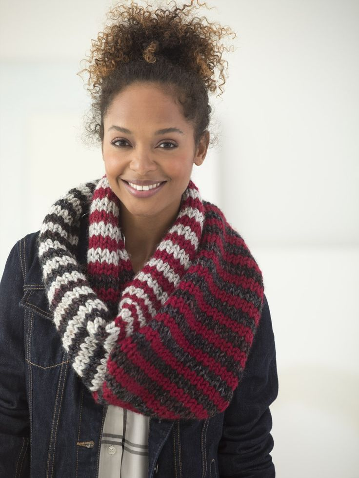 Striped Cowl (Knit) - Patterns - Lion Brand Yarn