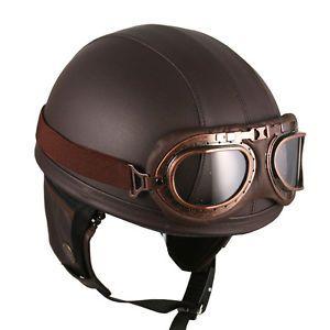 Goggles Vintage German Style Retro Brown Half Helmet Motorcycle Scooter Bike | eBay