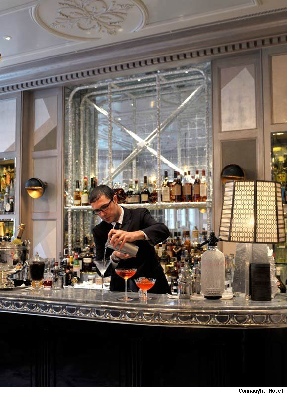 The Connaught Hotel and its Coburg Bar..my favorite london cocktails! the menu is a small history of drinks over the past 200 years!