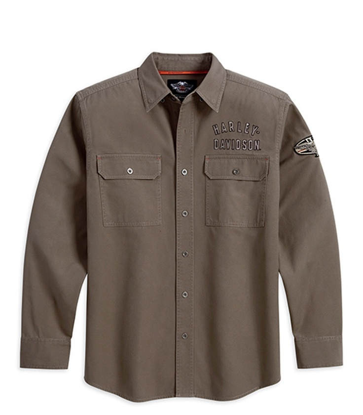 Harley davidson men s long sleeve winged performance woven for Mens shirts with snaps instead of buttons